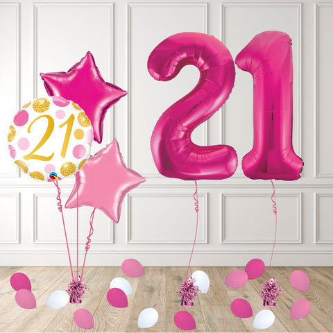 Inflated Pink 21 Balloon Package