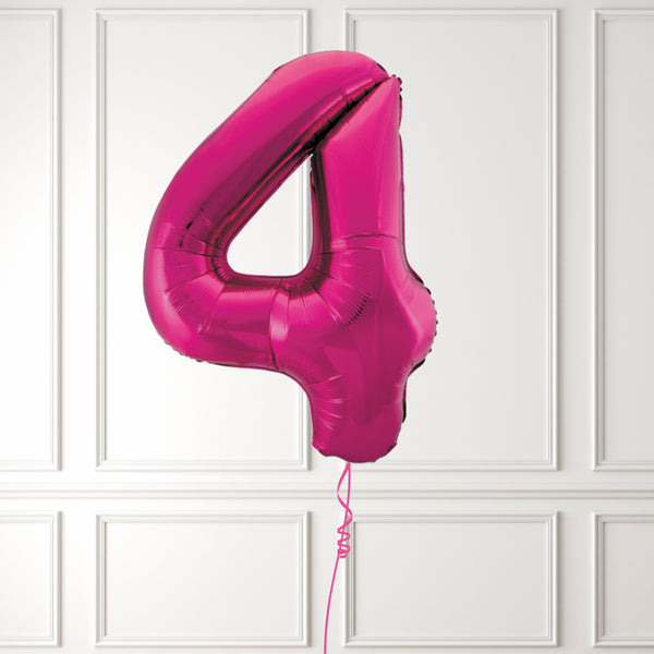 "Inflated 34"" Pink Number 4"