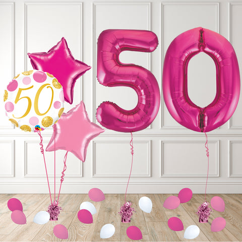 Inflated Pink 50 Balloon Package