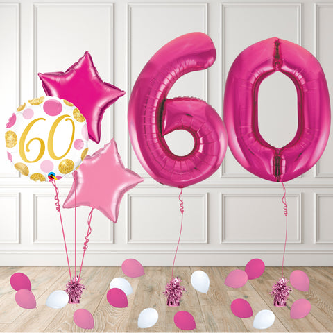 Inflated Pink 60 Balloon Package