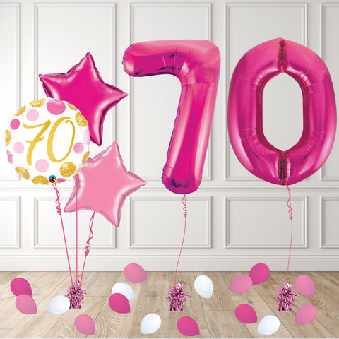 Inflated Pink 70 Balloon Package