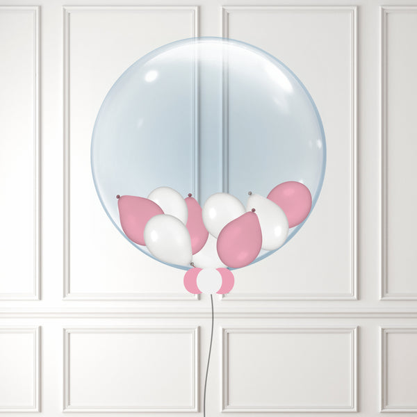 Inflated Pink and White Mini Balloon Bubble