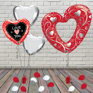 Inflated Red Love You Hearts Package - House Of Party
