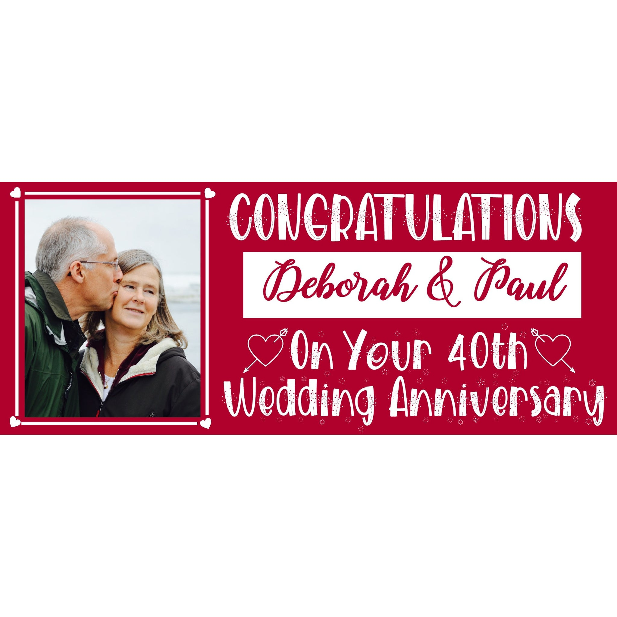 Personalised Ruby Wedding Anniversary Banner - House Of Party