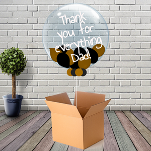 Inflated Fathers Day Black & Gold Mini Balloon Bubble - House Of Party