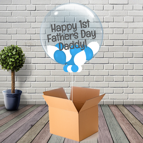 Inflated Fathers Day Blue and White Mini Balloon Bubble - House Of Party