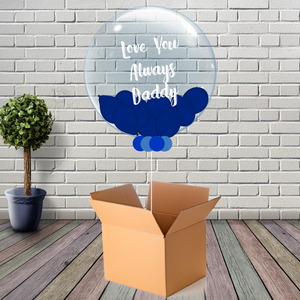 Inflated Fathers Day Dark Blue Mini Balloon Bubble - House Of Party