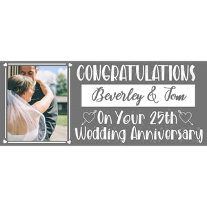 Personalised Silver Wedding Anniversary Banner - House Of Party