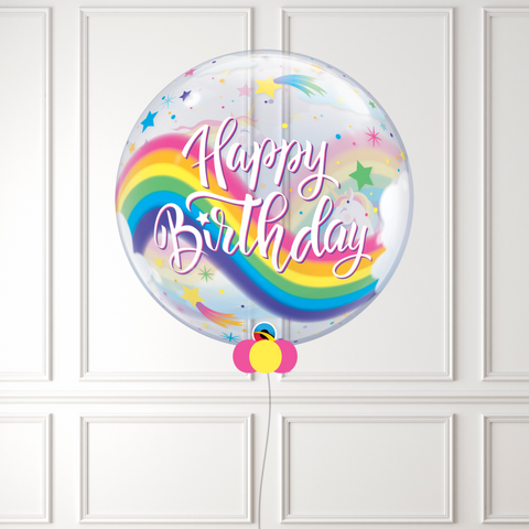 Inflated Unicorn Birthday Rainbow Bubble