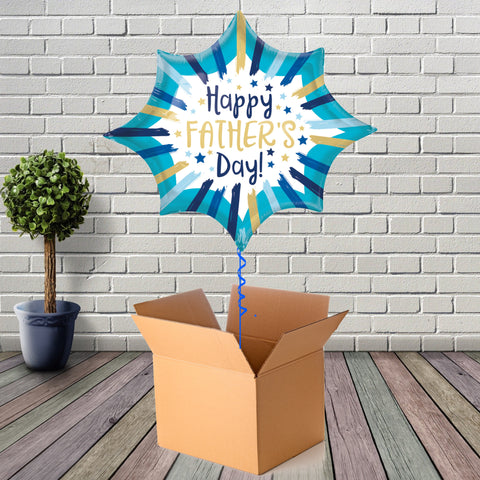 Inflated Happy Fathers Day Stripes Foil Balloon