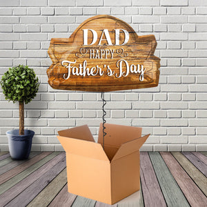 Inflated Happy Fathers Day Wood Foil Balloon