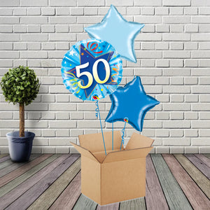 Inflated Blue Shining Star 50 Foil Bouquet - House Of Party
