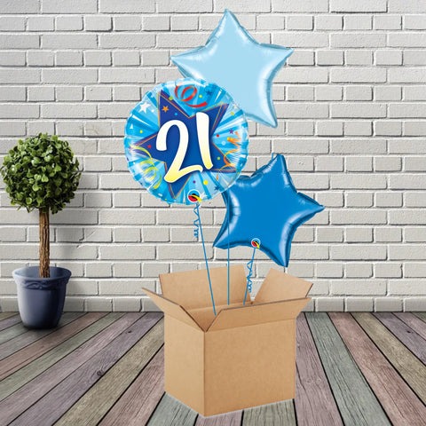 Inflated Blue Shining Star 21 Foil Bouquet - House Of Party