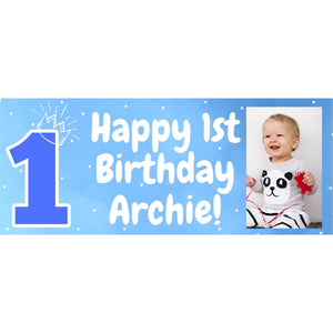 Personalised 1st Birthday Blue Banner - House Of Party