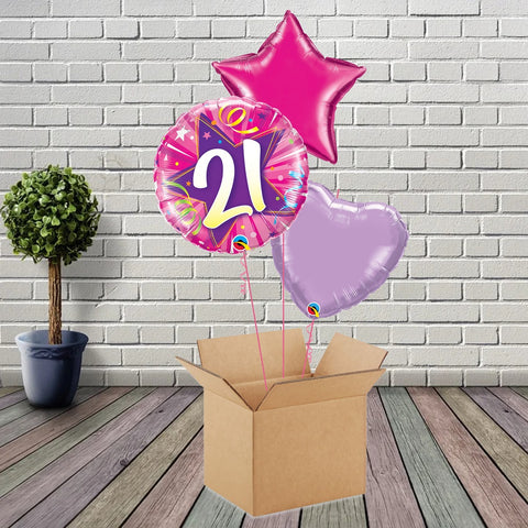 Inflated Pink Shining Star 21 Foil Bouquet - House Of Party