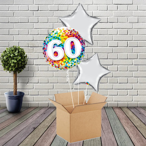 Inflated Age 60 Rainbow Confetti Foil Bouquet - House Of Party