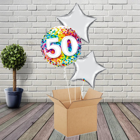 Inflated Age 50 Rainbow Confetti Foil Bouquet - House Of Party