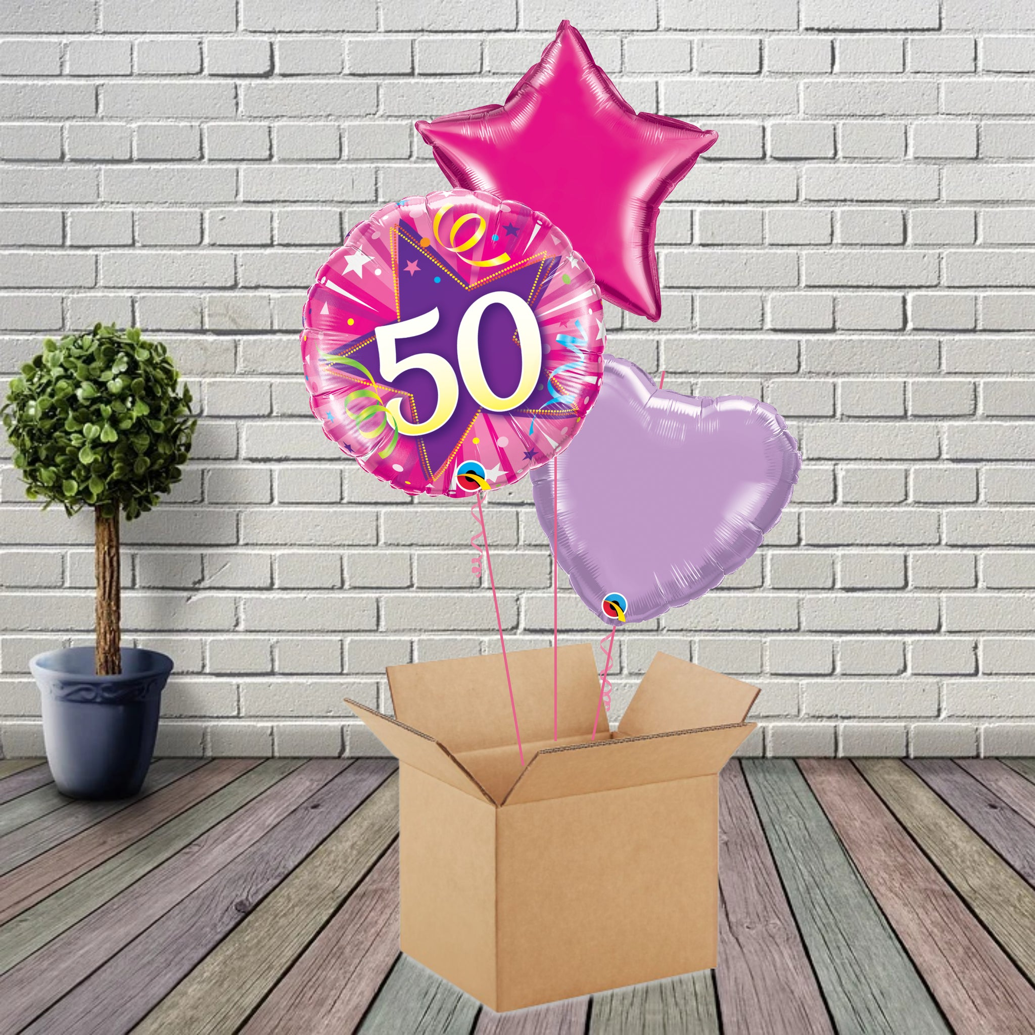 Inflated Pink Shining Star 50 Foil Bouquet - House Of Party