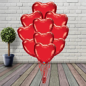 Inflated Red Hearts Foil Bouquet - House Of Party