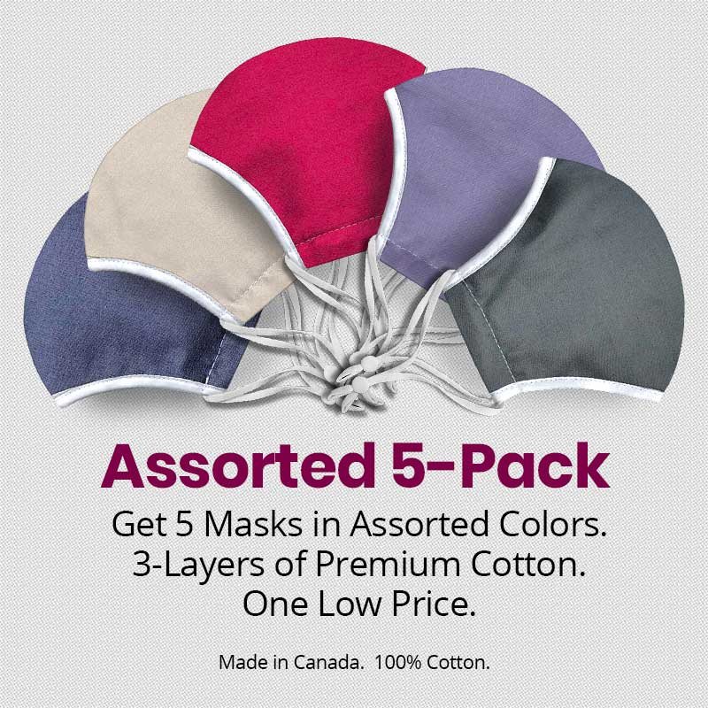 Adult Face Masks - Assorted 5 Pack