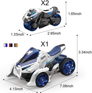 Pull Back Car Motorcycle Toys, Pull Back Vehicles Cars Launcher Toy with Music Lighting, Die-cast 2 in 1 Catapult Race