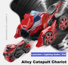 Load image into Gallery viewer, Pull Back Car Motorcycle Toys, Pull Back Vehicles Cars Launcher Toy with Music Lighting, Die-cast 2 in 1 Catapult Race