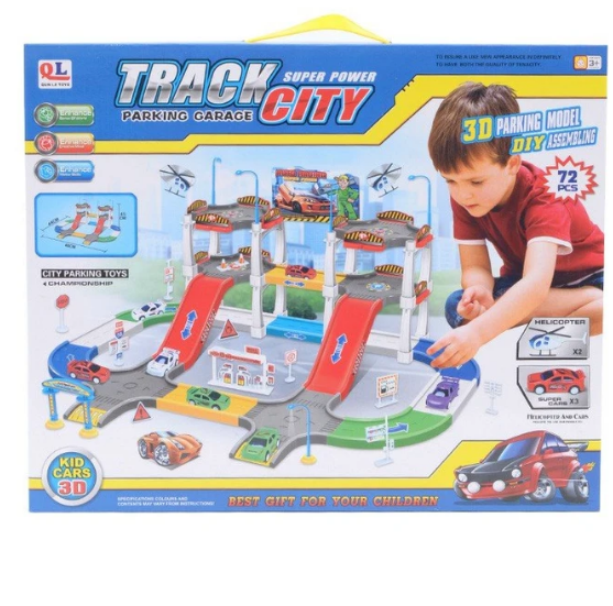 Super Power Track City Parking Garage 72 Pcs