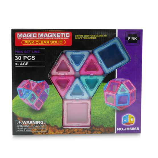 MAGIC MAGNETIC BLOCK SET, PINK CLEAR SOLID - One Shop Online Toys in Pakistan