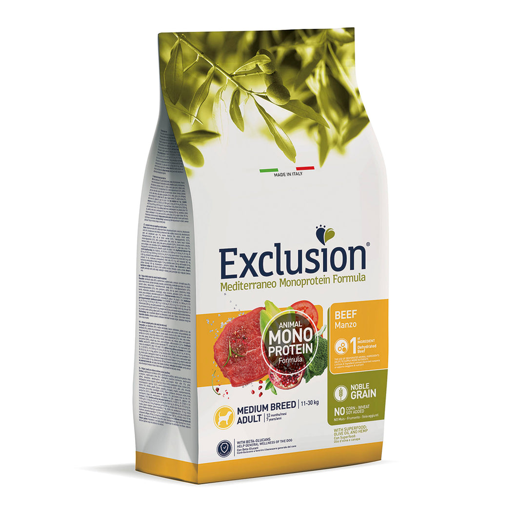 Exclusion Dog - MEDITERRANEAN Monoprotein - Adult Medium Beef