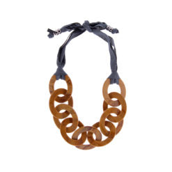 CHUNKY NECKLACE WITH PETROL TIE