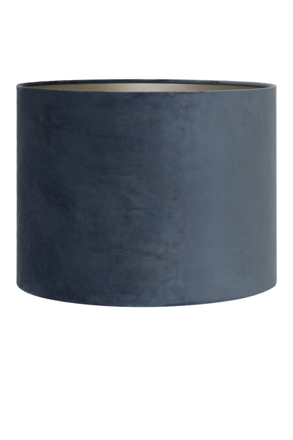 DUSTY BLUE VELVET CYLINDER SHADE 20 20 15