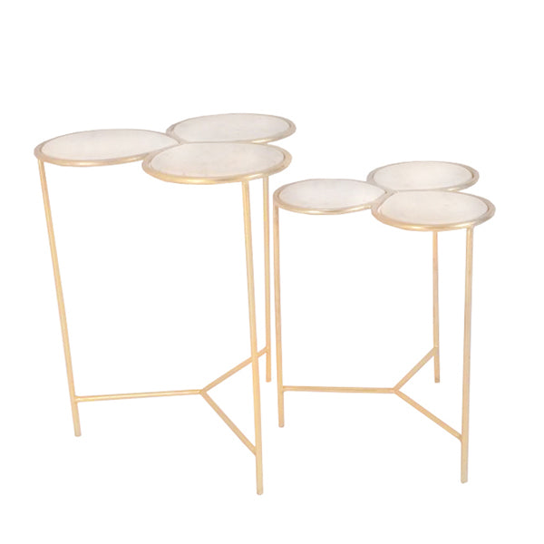 SET OF 2 TRIPLE MARBLE TOPPED TABLES WITH GOLD FINISH