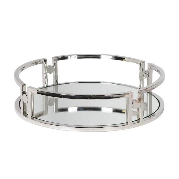 Circular Mirrored Silver Tray