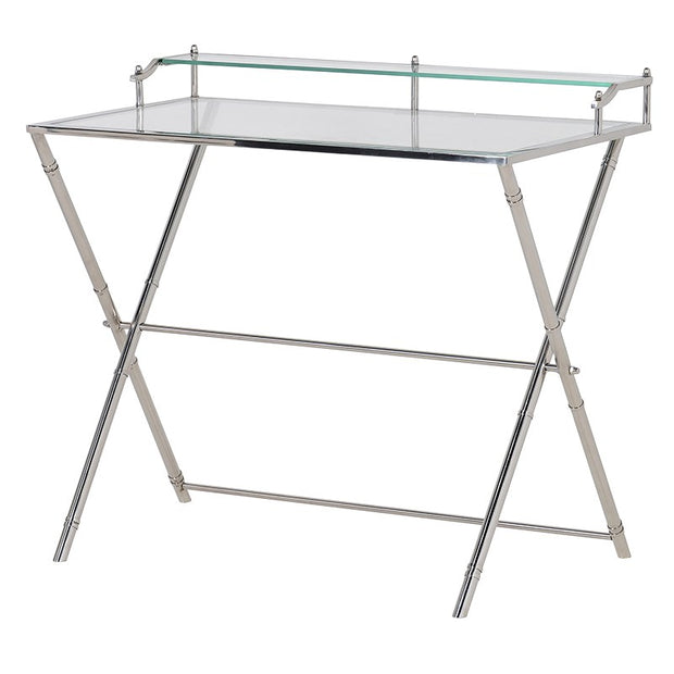 GLASS & CHROME WRITING DESK