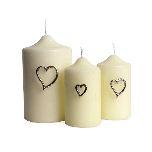SET OF 3 HEART CANDLE PINS