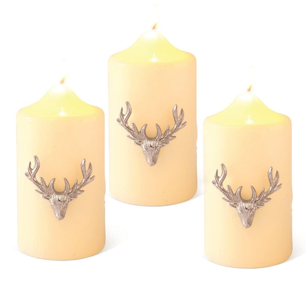 SET OF 3 LARGE STAG CANDLE PINS (SILVER)