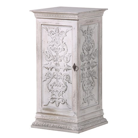 WHITE WASHED CARVED BEDSIDE CABINET