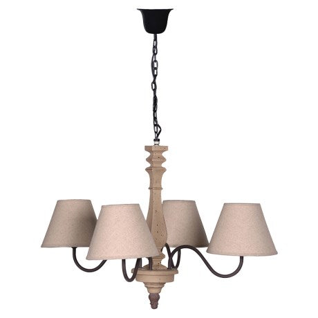 CREAM LINEN 4 ARM CHANDELIER