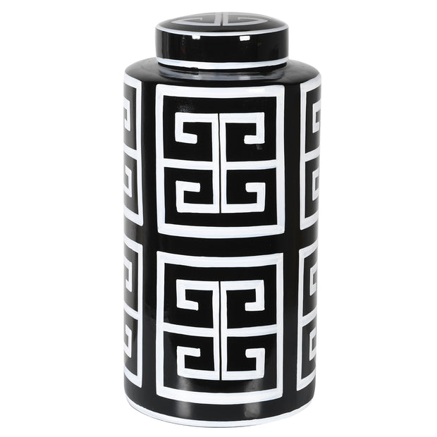 TALL BLACK & WHITE GINGER JAR