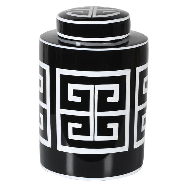BLACK & WHITE GINGER JAR (SMALL)