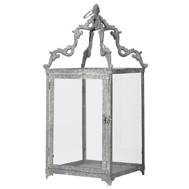 Rustic Grey Metal Lantern