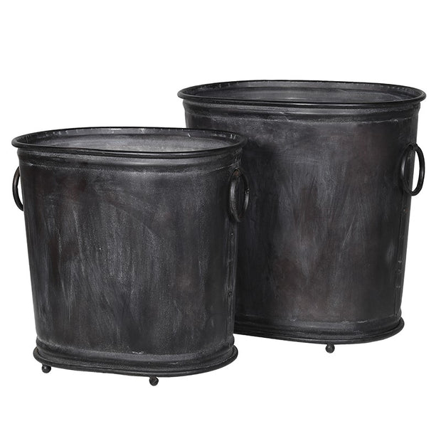 SET OF 2 METAL PLANTERS