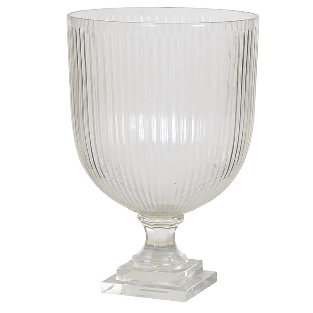 HEAVY RIDGED GLASS CANDLEHOLDER/VASE