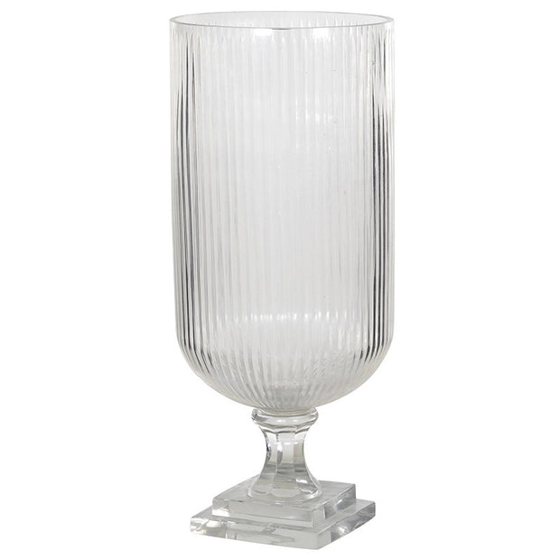 HEAVY RIDGED GLASS CANDLEHOLDER/VASE (TALL)