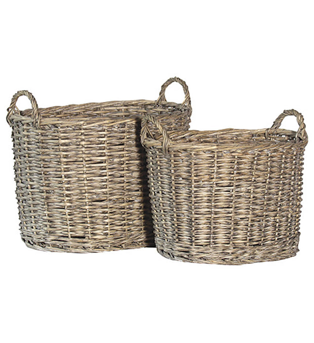 SET OF TWO GREY-WASH LAUNDRY BASKETS