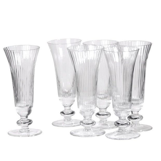 SET OF 6 RIDGED CHAMPAGNE FLUTES