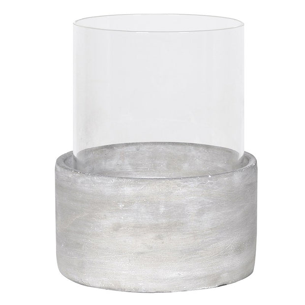 ROUND GLASS/CEMENT CANDLEHOLDER (LARGE)