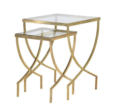 NEST OF 2 CURVED LEGGED TABLES