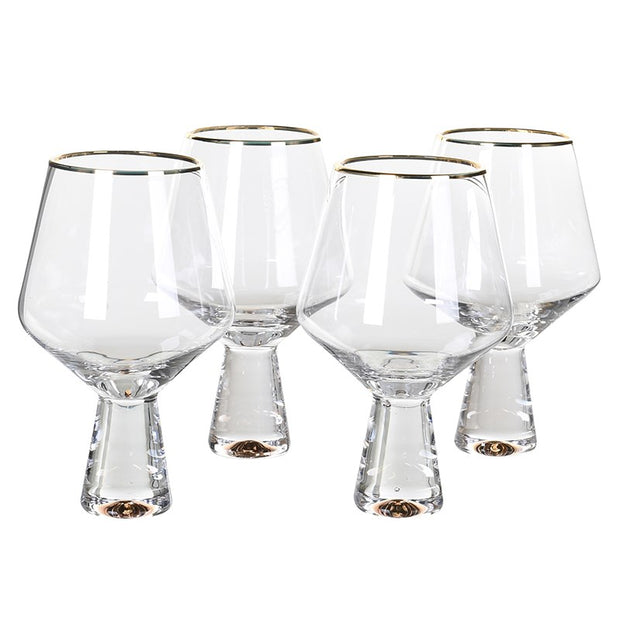 SET OF 4 GOLD TRIMMED GIN GLASSES