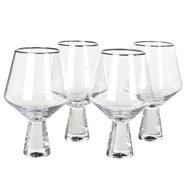 SET OF 4 SILVER TRIMMED GIN GLASSES